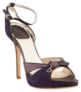 Dior Leather Suede Heels Purple Sandals