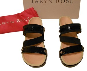 Taryn Rose Amari Strappy Upper Design Contoured Footbed Black Sandals