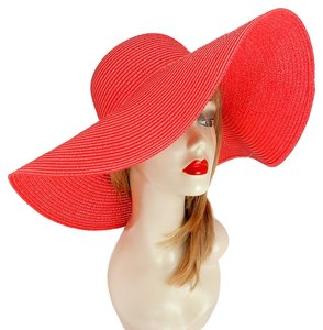 Other FASHIONISTA Red Beach Sun Cruise Summer Large Floppy Hat