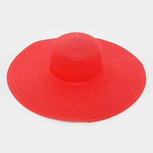Other FASHIONISTA Red Beach Sun Cruise Summer Large Floppy Hat Image 1