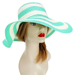 Other FASHIONISTA Green And White Beach Sun Cruise Summer Large Floppy Hat