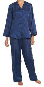 Miss Elaine Miss Elaine Navy Blue Striped Pajama Set Size XL