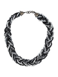 Kenneth Jay Lane Kenneth Jay Lane Braided Silver and Black Beads Necklace