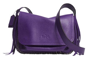Coach Chain Fringe Shoulder Vintage Purple Cross Body Bag