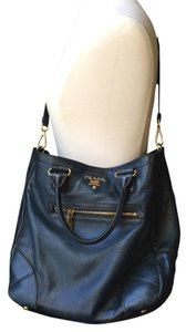 Prada Gold Handbag Leather Golden Hardware Large Tote in Blue