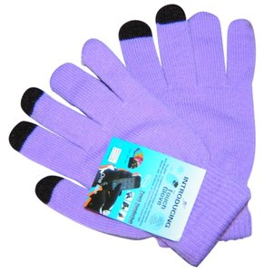 Lavender/Black Touch Screen Friendly Stretch Knit Gloves Free Shipping