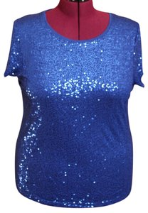 dressbarn 100% Rayon Plus Size T Shirt Blue sequin