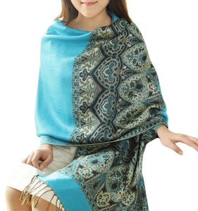 Cashmere Blend Teal Floral Design Wrap Scarf Shawl Free Shipping