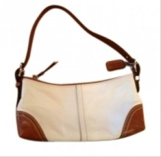 Coach Satchel in White with saddle tone tan trim