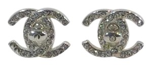 Chanel Chanel Rhinestone Silver Rhinestone Turnlock CC Large Clip on Earrings