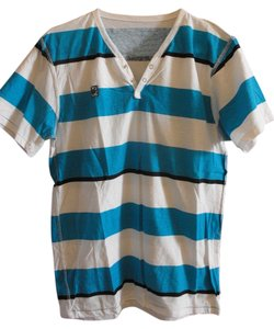 Zoo York T Shirt Blue/Black/White Striped