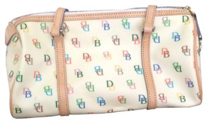 Dooney & Bourke Satchel in Cream With Colorful Signature and Leather