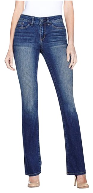 Yummie Woven Stretch Denim Midrise Boot Cut Jeans-Dark Rinse Image 0
