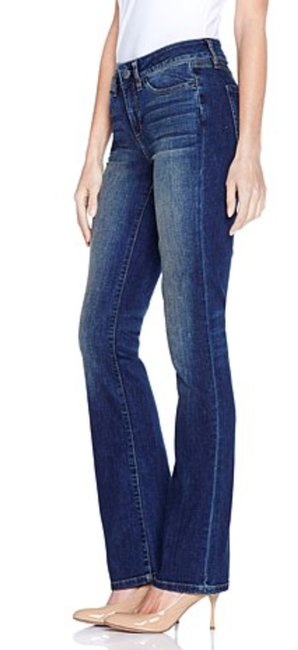 Yummie Woven Stretch Denim Midrise Boot Cut Jeans-Dark Rinse Image 2