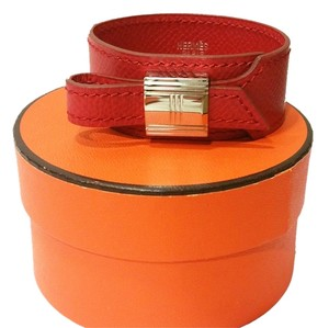 Hermès Authentic Hermes Kelly Lock Red Wide Leather Bracelet