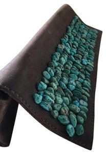 Calvin Klein Vintage Stones Studded Leather Brown & Turquoise Clutch