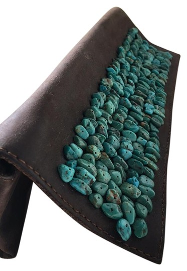 Preload https://img-static.tradesy.com/item/11660317/calvin-klein-vintage-brown-and-turquoise-leather-stones-clutch-0-1-540-540.jpg