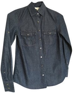 J.Crew Denim Button Down Roll Up Button Down Shirt Blue