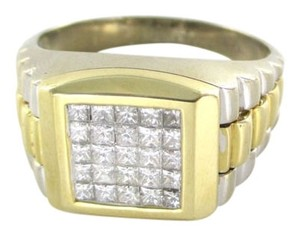 Other 14K SOLID WHITE YELLOW GOLD CLUSTER RING 10.1 GRAMS 25 DIAMONDS 1.0 CARAT SZ 13