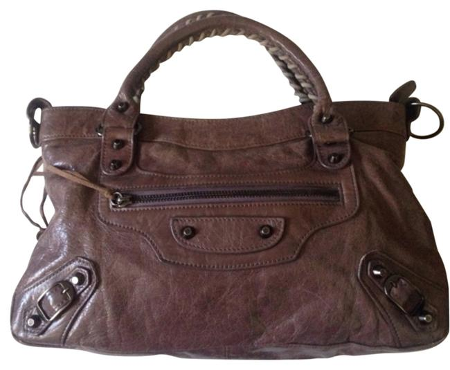 Balenciaga The First City Hand Brown-purple Leather Satchel Balenciaga The First City Hand Brown-purple Leather Satchel Image 1