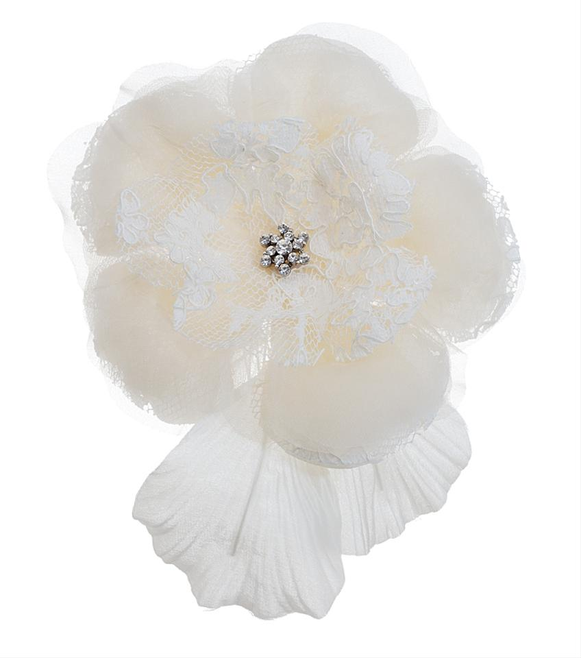 Lori London Cream Large Silk Rose Comb With Lace Petals Hair