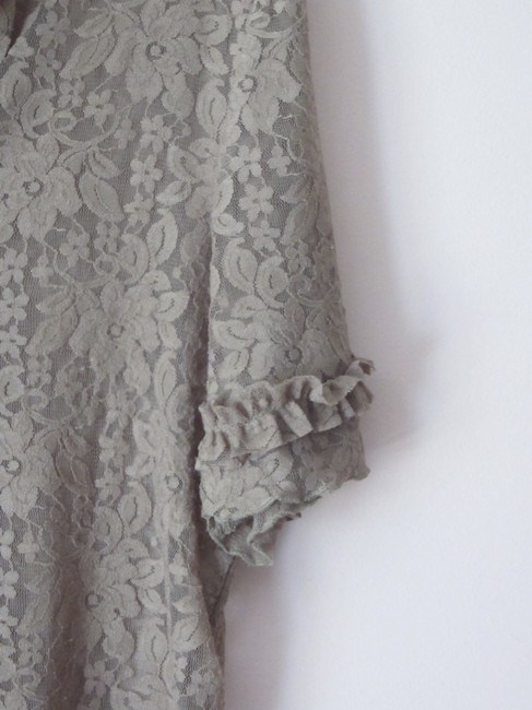 Project E Lace Ruffle Top Taupe