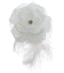 Lori London Large Silk Flower Hair Comb With Plume