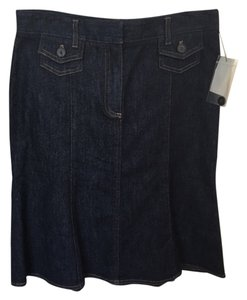 Theory Denim Flared New Skirt Dark Indigo