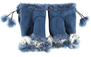 Other Genuine Fur Trimmed Blue Suede Nap Fingerless Gloves Free Shipping
