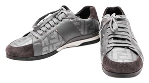 Fendi Zucca Coated Canvas Leather Sneakers Mens Gray Athletic