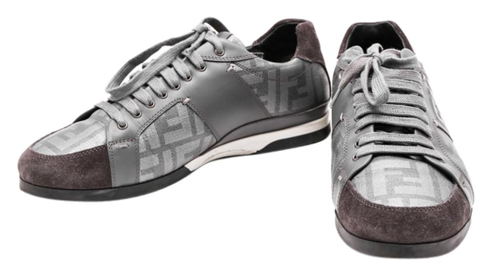 0a3a64cc Fendi Gray Logo Ff Zucca Canvas Silver Leather Suede Sneakers Size US 7  Regular (M, B) 42% off retail