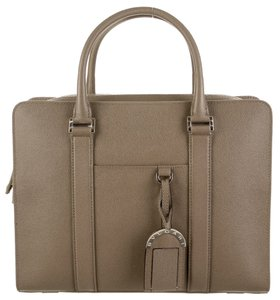 BVLGARI Palladium Hardware Detachable Strap Flat Pocket At Front Grey Messenger Bag