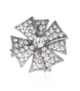Kenneth Jay Lane Silver Double Maltese Cross Crystal Brooches and Pins
