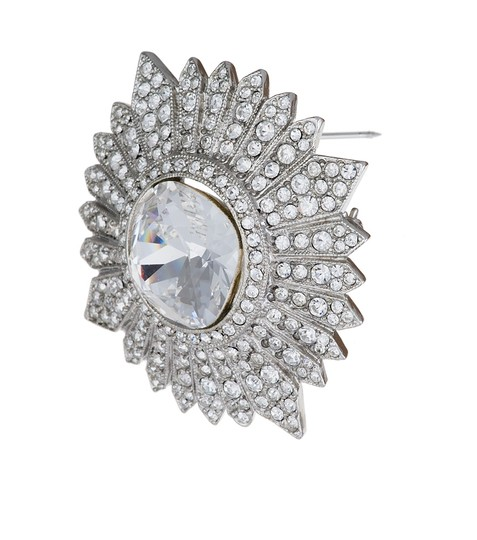 Kenneth Jay Lane Silver Small Crystal Cluster Brooch/Pin Image 1