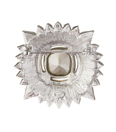 Kenneth Jay Lane Silver Small Crystal Cluster Brooch/Pin Image 2