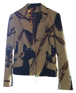 Dolce and Gabbana Horse print fitted jacket with contrasting Leopard print lining and gold buttons.