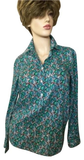 Item - Green Floral Long Sleeve Tunic Size 0 (XS)