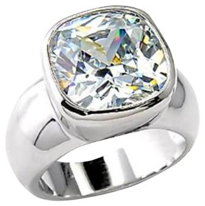 New Size 8, 4.5 CT Rhodium Plated CZ Ring