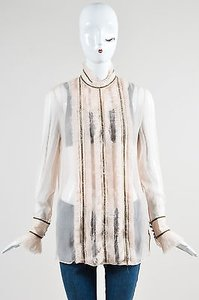 Alexander McQueen Blush Silk Velvet Trim Pleat Ls Top Pink