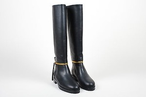Pierre Hardy Hardy Gold Tone Leather Tom Knee High Black Boots
