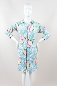 Theory short dress Multi-Color Teal Pink Yellow Silk on Tradesy