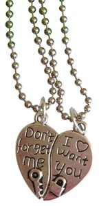 New Don't forget me and I want you Love Heart Pendant Necklace