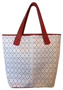 Saks Fifth Avenue Tote in White, Red Trim
