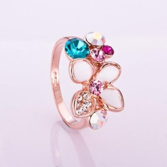 Other Size 8, New Gorgeous White Enamel Ring 18K Rose Gold Plate Colorful SWA Elements Austrian Crystal Flower Ring Image 1