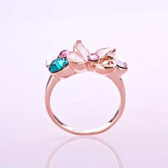 Other Size 8, New Gorgeous White Enamel Ring 18K Rose Gold Plate Colorful SWA Elements Austrian Crystal Flower Ring Image 2