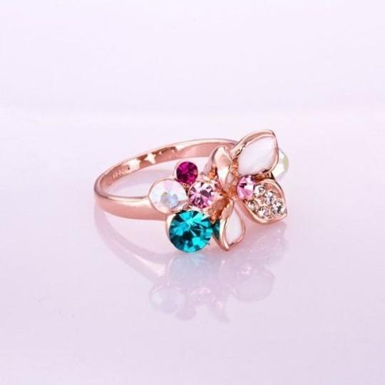 Other Size 8, New Gorgeous White Enamel Ring 18K Rose Gold Plate Colorful SWA Elements Austrian Crystal Flower Ring Image 3