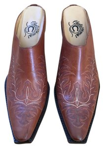 Charlie Horse Blue Cream Brazil Embroidered Brown Mules