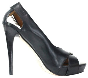 Michael Kors Portland Slandals Open Toe Leather Black Pumps