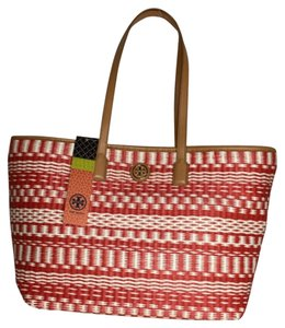 Tory Burch Large Stripe Straw Tote in Red Tan Natural