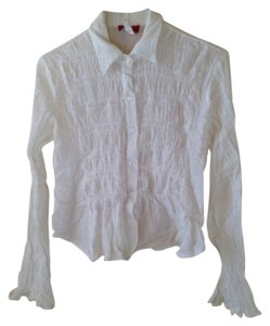 All the Rage Cotton Button Button Down Shirt White